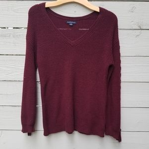 American Eagle Burgundy Lace Up Sleeve Sweater